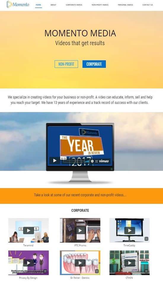 momentomedia website screenshot