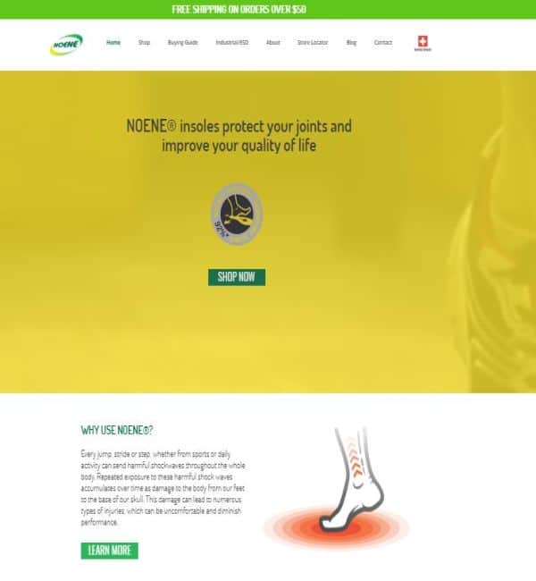 noene website screenshot